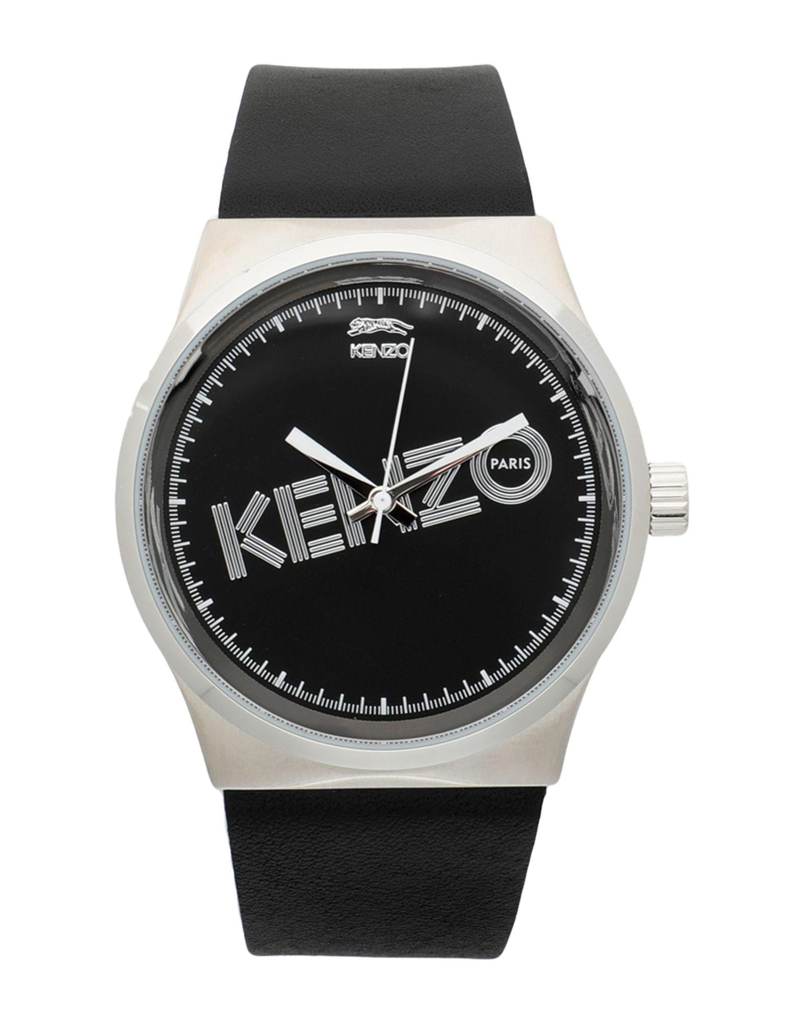 《期間限定 セール開催中》KENZO メンズ 腕時計 ブラック ステンレススチール / 革