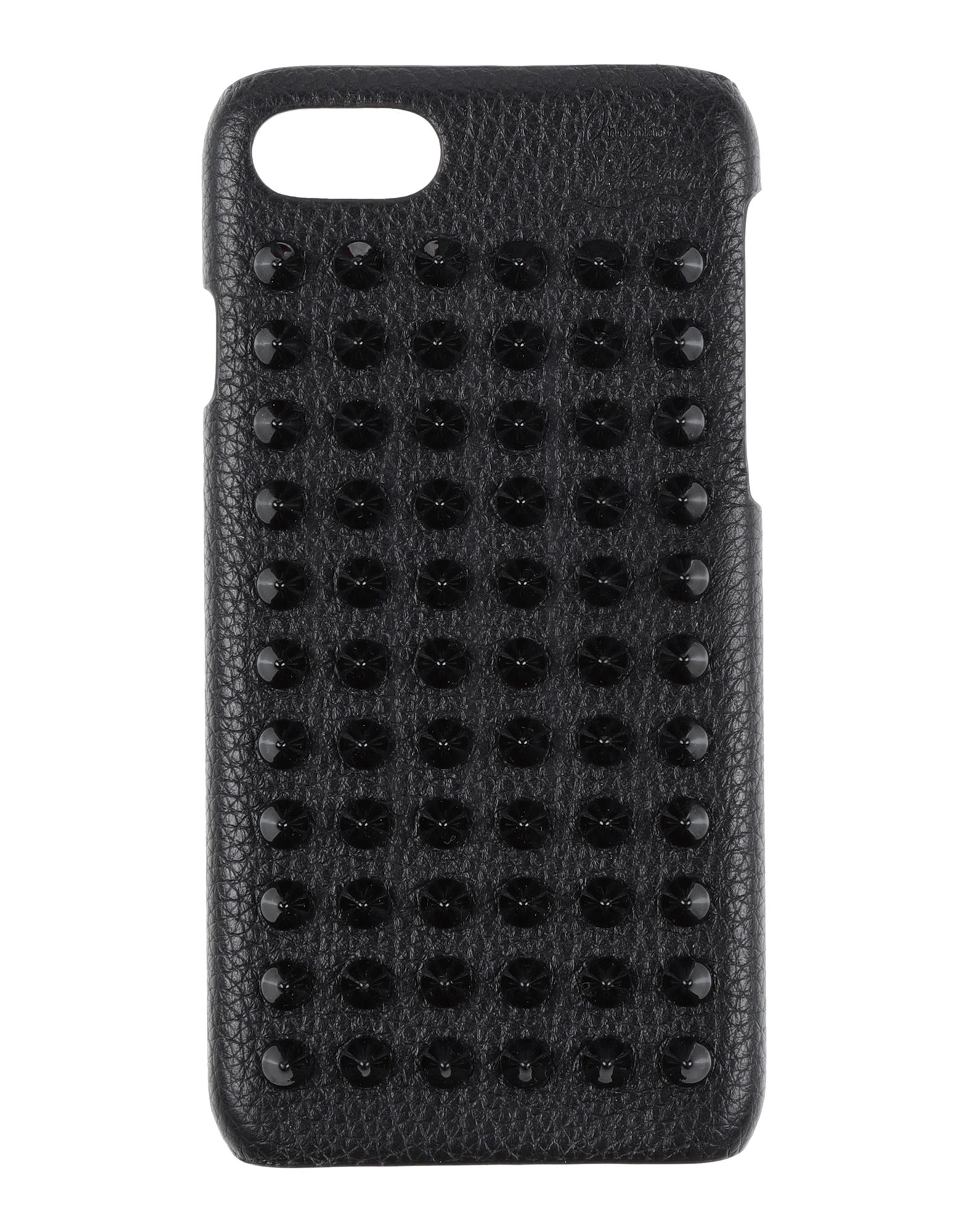 CHRISTIAN LOUBOUTIN Covers & Cases. iphone 7 cover, leather, logo, studs, solid color, contains non-textile parts of animal origin, textured leather. Soft Leather