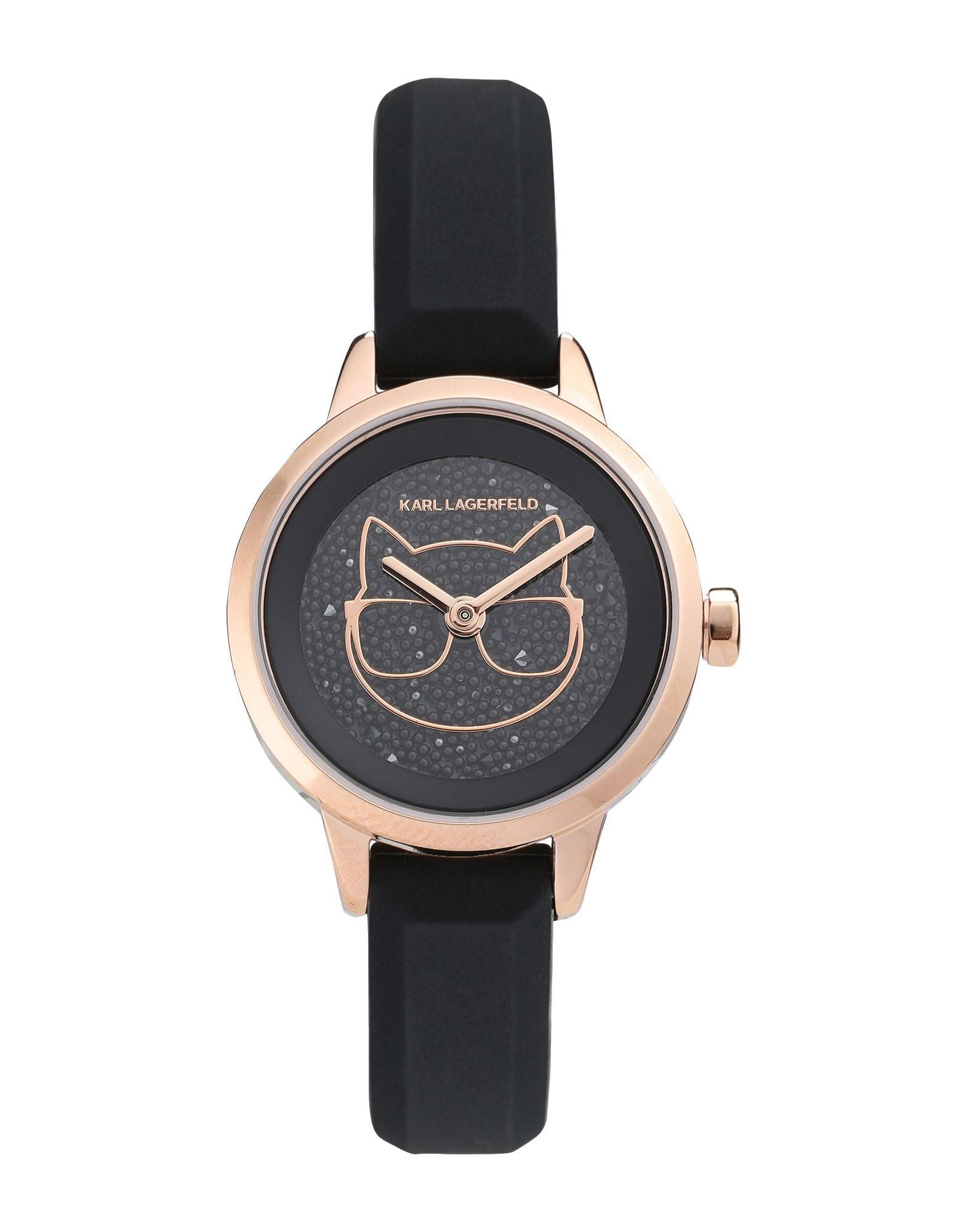《セール開催中》KARL LAGERFELD レディース 腕時計 ブラック ステンレススチール / シリコン / スワロフスキー PETITE CHOUPETTE SILICONE STRAP