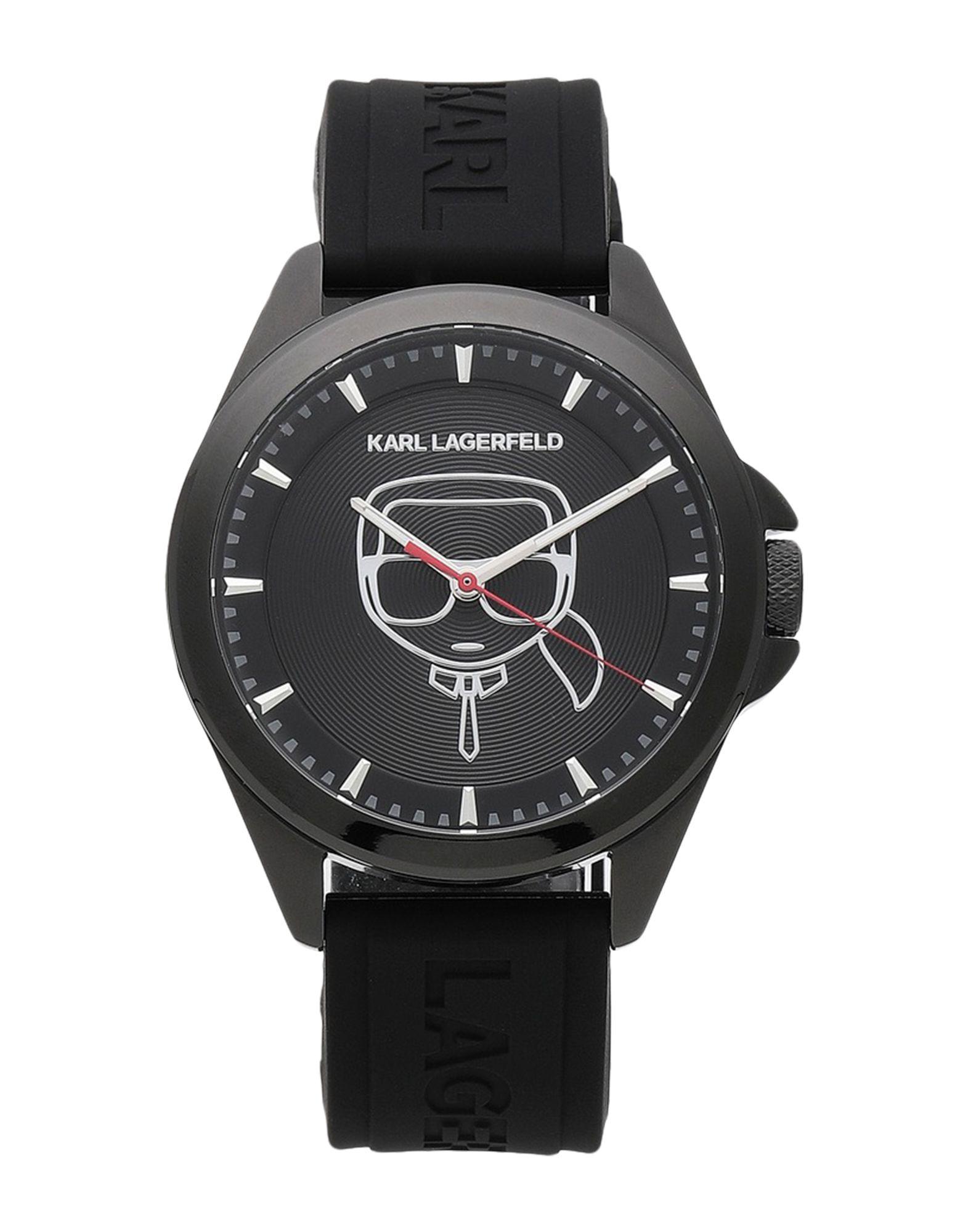 《セール開催中》KARL LAGERFELD メンズ 腕時計 ブラック ステンレススチール / シリコン KARL IKONIK SILICONE STRAP