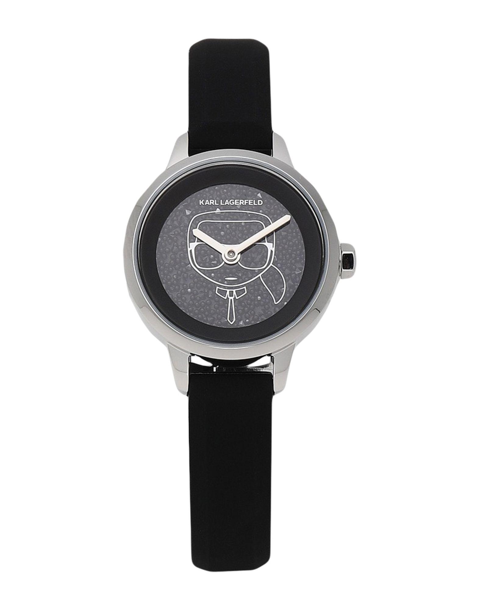《セール開催中》KARL LAGERFELD レディース 腕時計 ブラック ステンレススチール / シリコン / スワロフスキー PETITE KARL IKONIK SILICONE STRAP