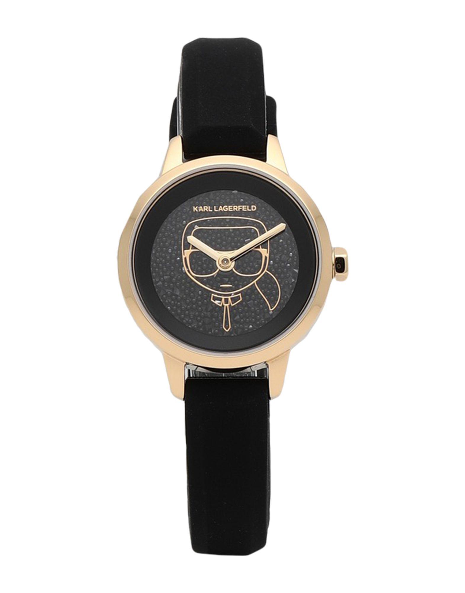 《セール開催中》KARL LAGERFELD レディース 腕時計 ブラック シリコン / ステンレススチール / スワロフスキー PETITE KARL IKONIK SILICONE STRAP