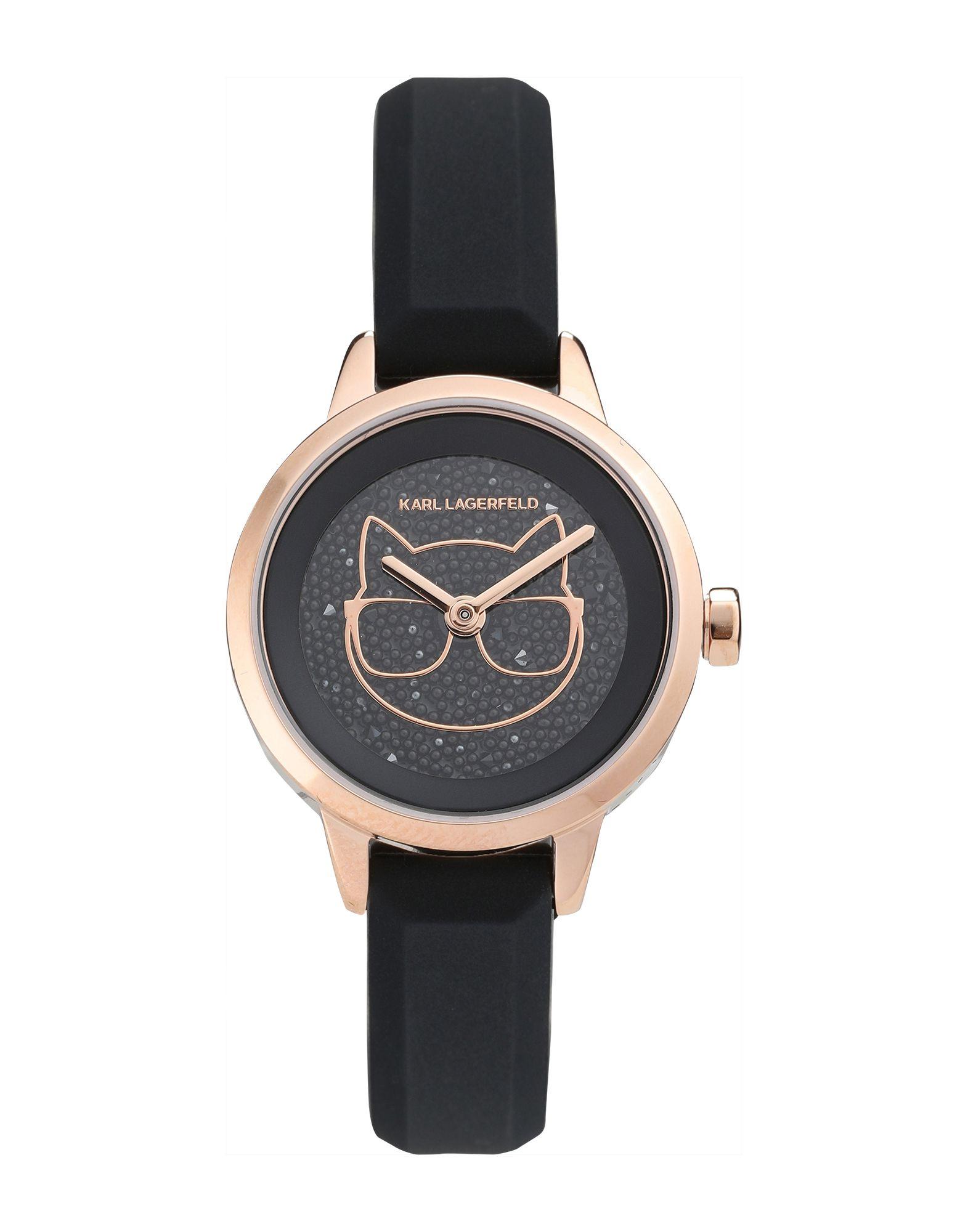 《セール開催中》KARL LAGERFELD レディース 腕時計 ブラック 真鍮/ブラス / シリコン / スワロフスキー PETITE CHOUPETTE SILICONE STRAP