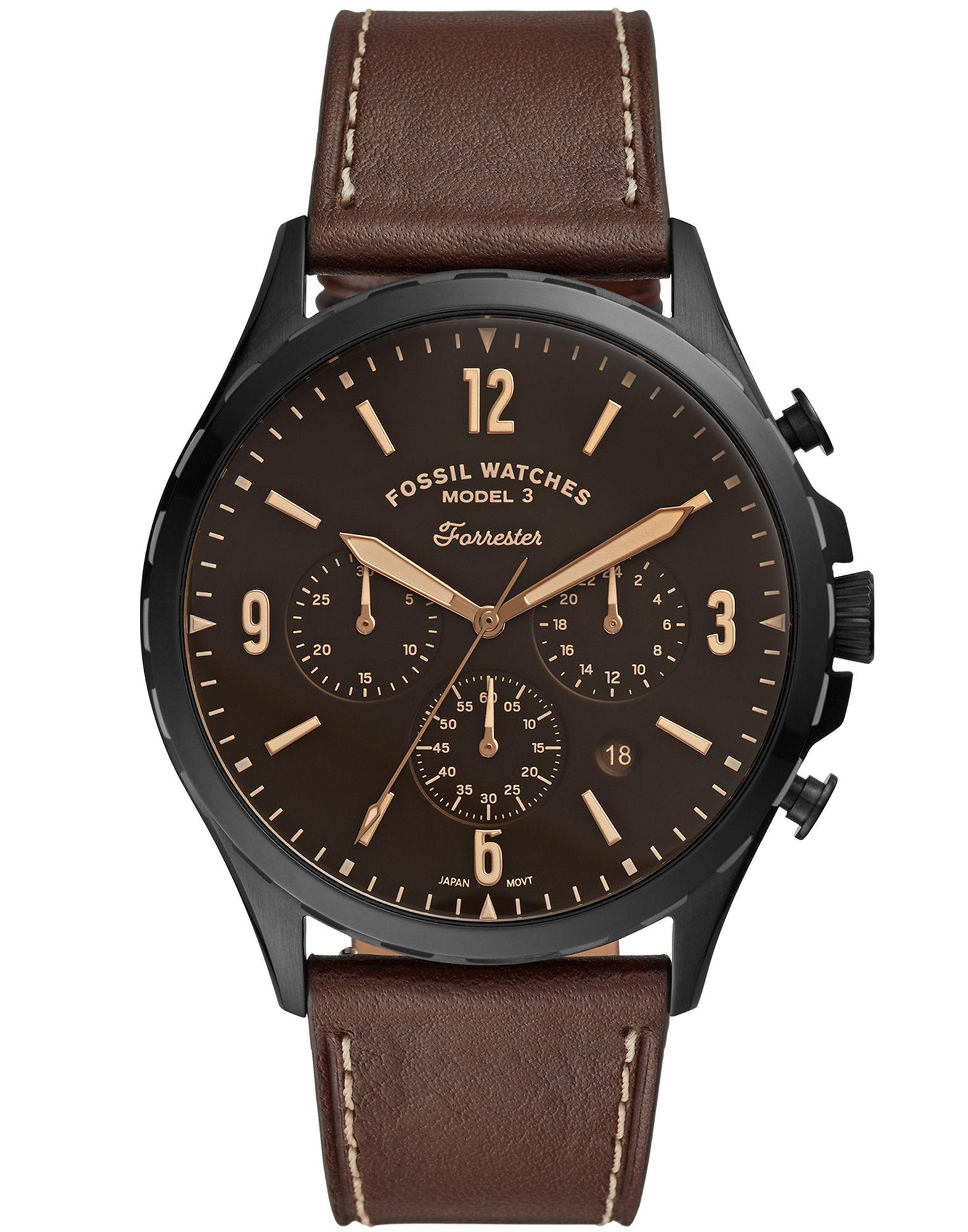 《セール開催中》FOSSIL メンズ 腕時計 ダークブラウン ステンレススチール / 革 FORRESTER CHRONO