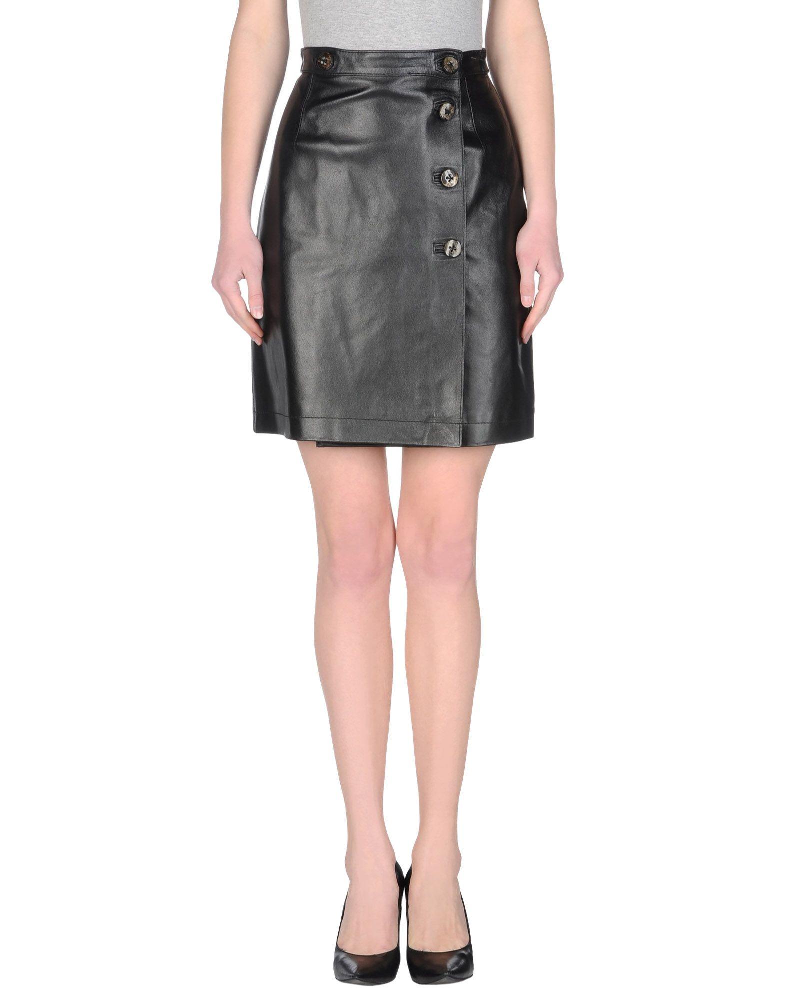 AMULETI Damen Lederrock Farbe Schwarz Größe 4