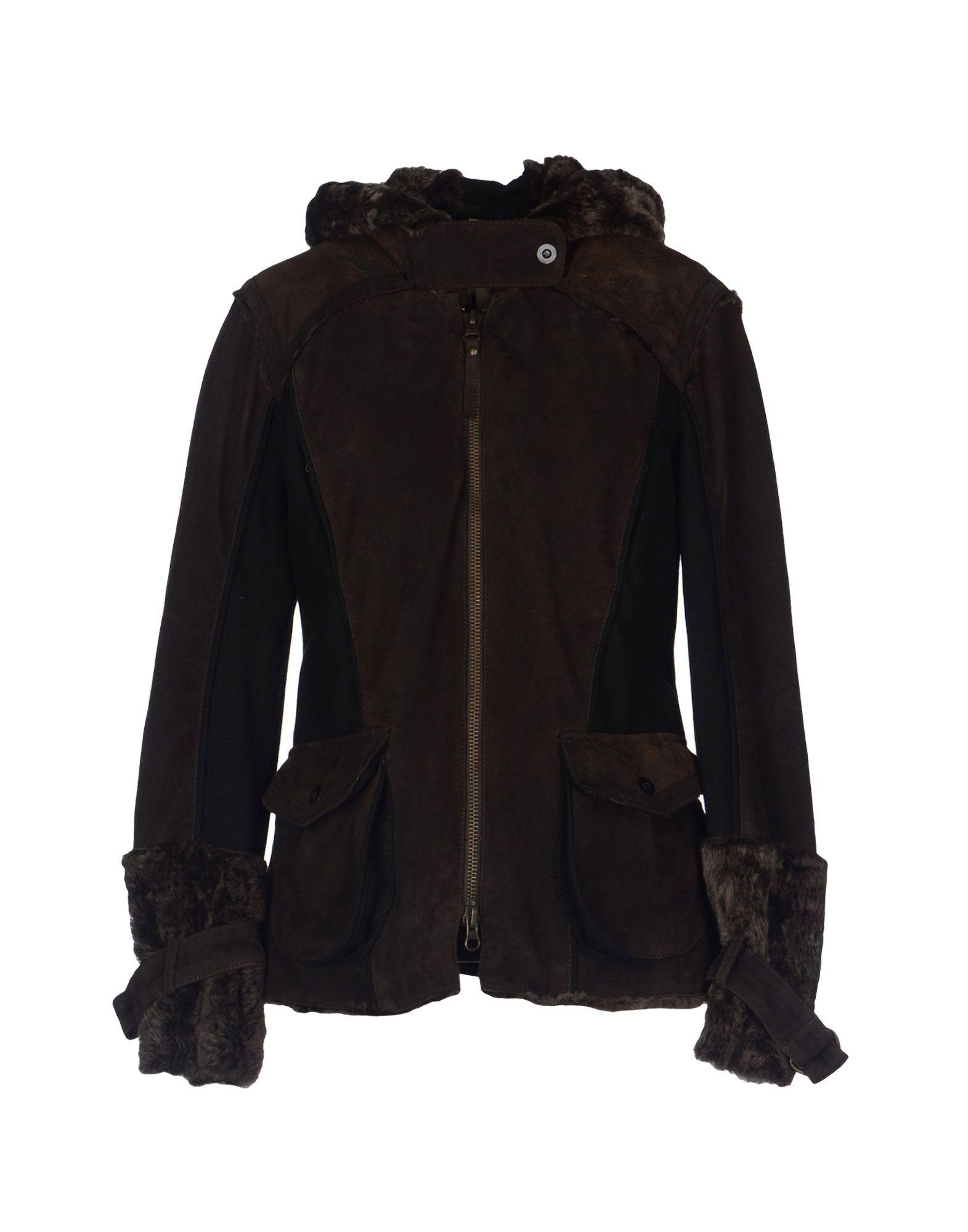COMPAGNIA Damen Lederjacke/Mantel Farbe Dunkelbraun Größe 5 - broschei