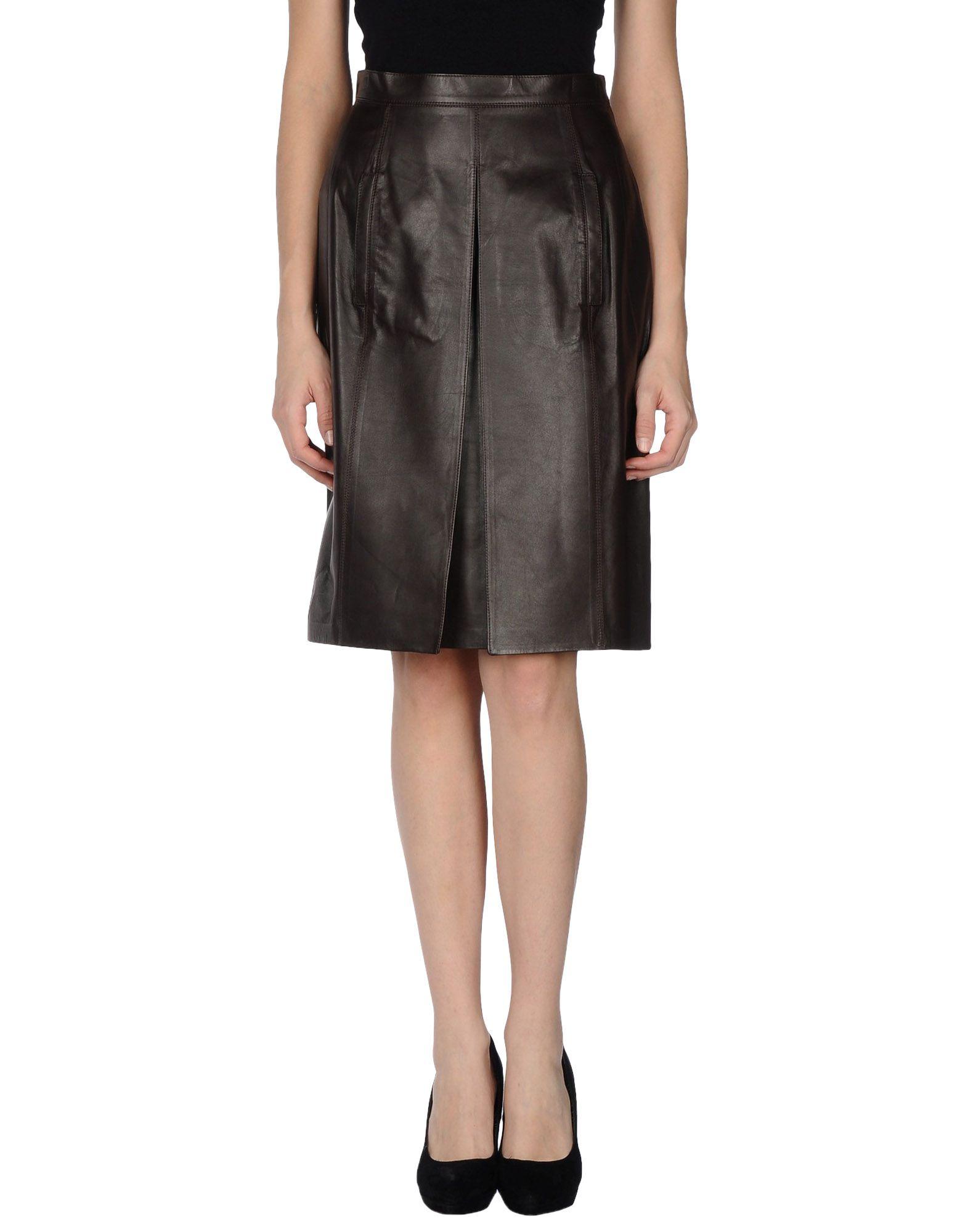 LAGERFELD Damen Lederrock Farbe Dunkelbraun Größe 6