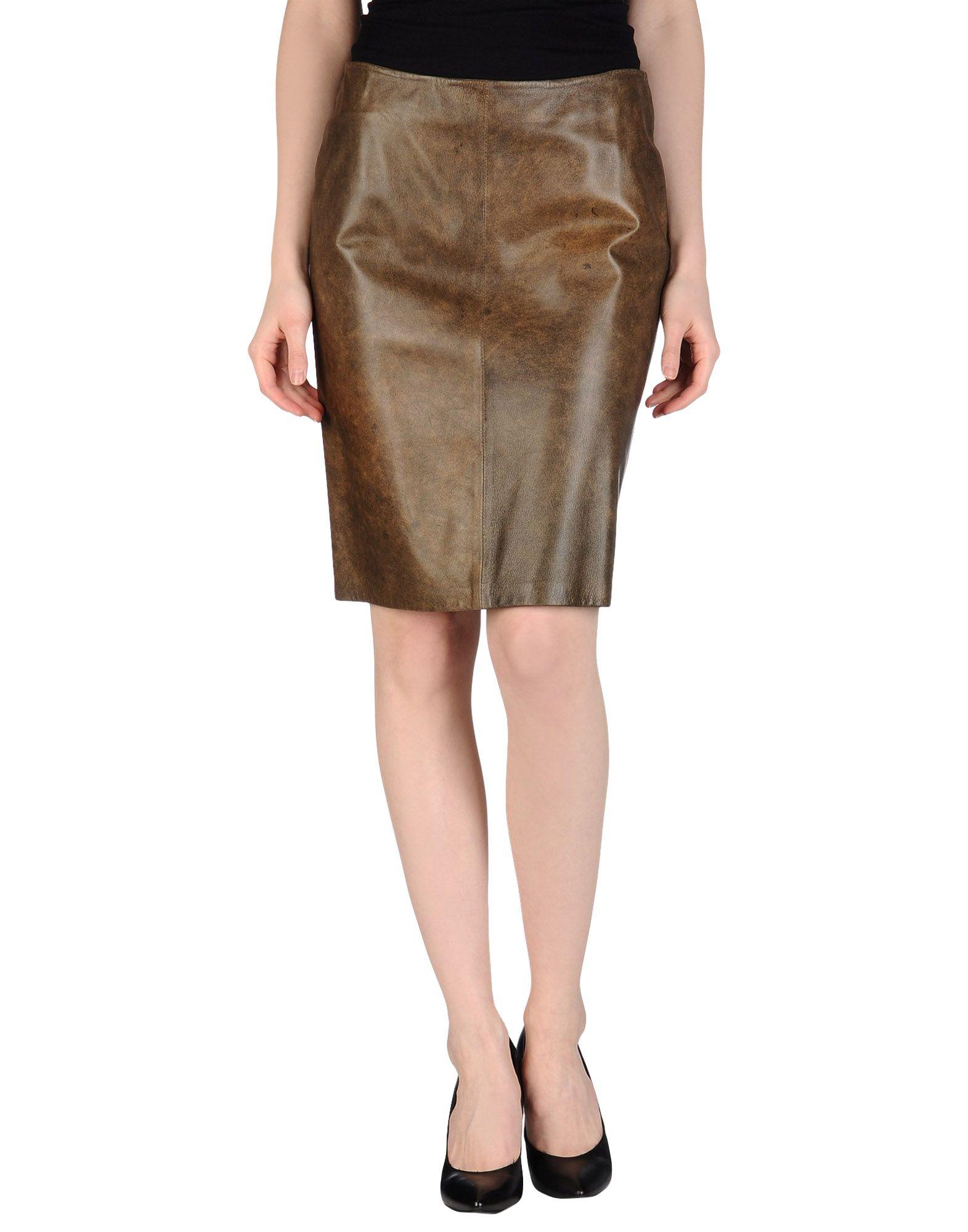 MARIELLA BURANI Damen Lederrock Farbe Khaki Größe 4 - broschei