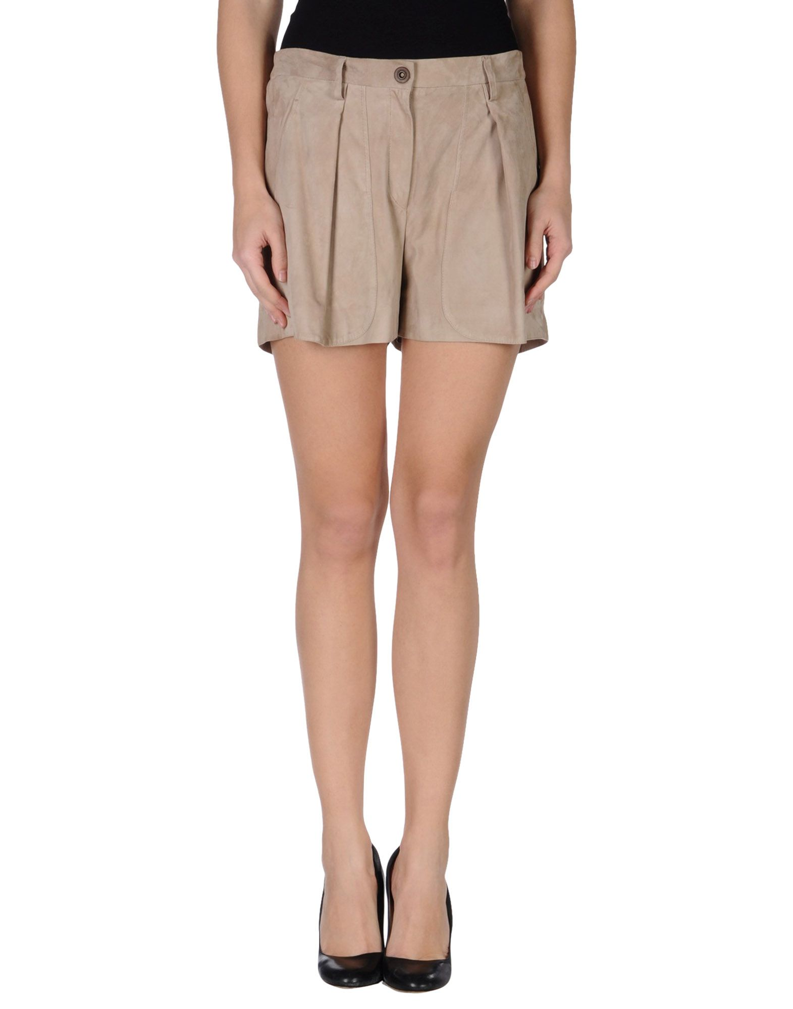 BRUNELLO CUCINELLI Leather pants. sueded, solid color, snap-buttons, zip, multipockets, lined, high waisted, front closure, no appliqués, shorts. Soft leather