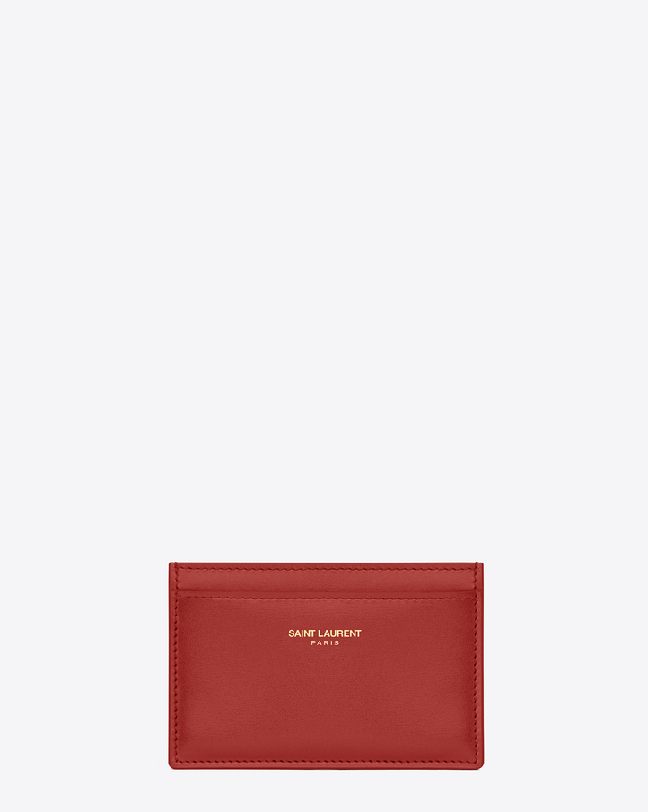 Saint laurent porte cartes paris en cuir rouge lipstick for Porte carte ysl