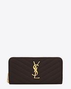 SAINT LAURENT Monogram Matelassé D Monogram Saint Laurent Zip Around Wallet in dark magenta Grain de Poudre Textured Matelassé Leather f