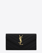 SAINT LAURENT Monogram Matelassé D Large Monogram Saint Laurent Flap Wallet in Black Grain de Poudre Textured Matelassé Leather f