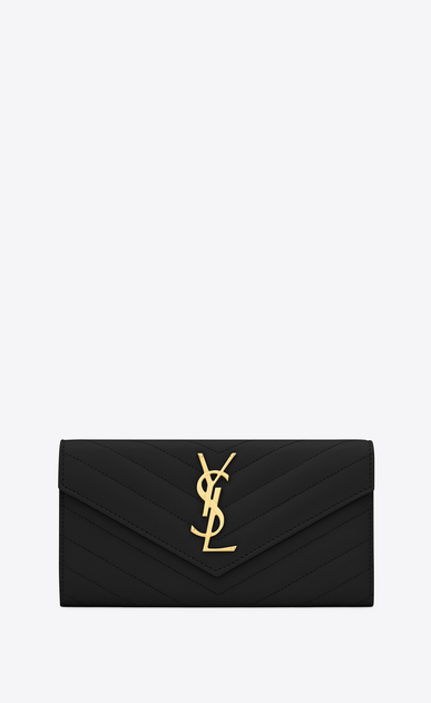 SAINT LAURENT Monogram Matelassé Woman large monogram flap wallet in black grain de poudre textured matelassé leather a_V4