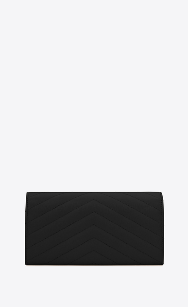 SAINT LAURENT Monogram Matelassé Woman large monogram flap wallet in black grain de poudre textured matelassé leather b_V4