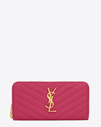 SAINT LAURENT Monogram Matelassé D Monogram Saint Laurent Zip Around Wallet in Lipstick Fuchsia Grain de Poudre Textured Matelassé Leather f
