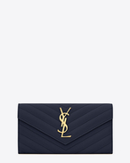 SAINT LAURENT Monogram Matelassé D Large Monogram Saint Laurent Flap Wallet in navy blue Grain de Poudre Textured matelassé Leather f