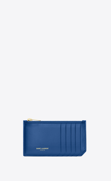 SAINT LAURENT Saint Laurent Paris SLG D pochette zippée 5 fragments saint laurent paris en cuir bleu roi a_V4