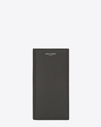 classic saint laurent paris continental wallet in dark anthracite grain de poudre textured leather