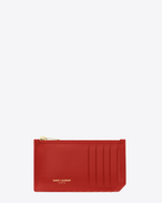 CLASSIC SAINT LAURENT PARIS 5 Fragments ZIP POUCH IN Red LEATHER