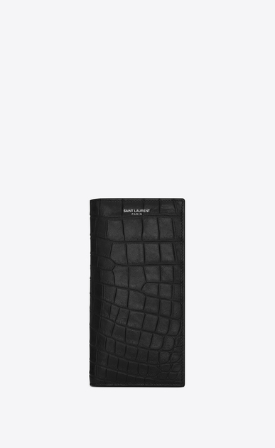 SAINT LAURENT Saint Laurent Paris SLG U CLASSIC SAINT LAURENT PARIS CONTINENTAL WALLET IN Black crocodile embossed leather a_V4