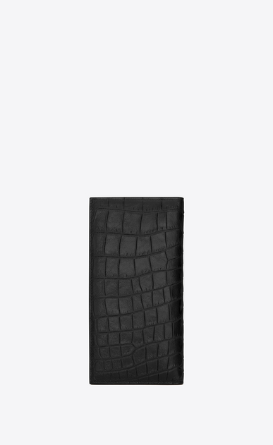 SAINT LAURENT Saint Laurent Paris SLG U CLASSIC SAINT LAURENT PARIS CONTINENTAL WALLET IN Black crocodile embossed leather b_V4