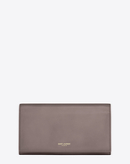 SAINT LAURENT Saint Laurent Paris SLG D CLASSIC SAINT LAURENT PARIS LARGE FLAP WALLET IN Fog LEATHER f