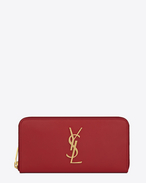 MONOGRAM SAINT LAURENT ZIP AROUND WALLET IN Lipstick Red LEATHER
