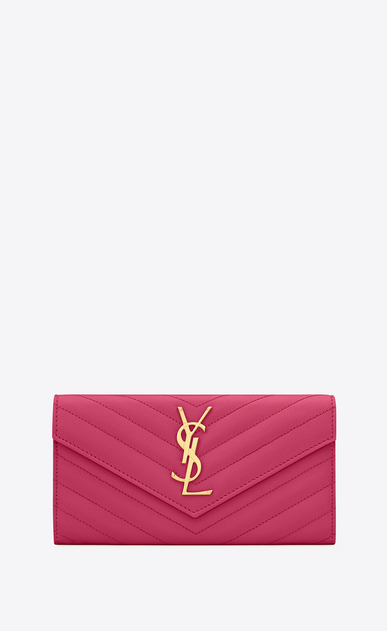 SAINT LAURENT Monogram Matelassé D large monogram flap wallet in lipstick fuchsia grain de poudre textured matelassé leather a_V4