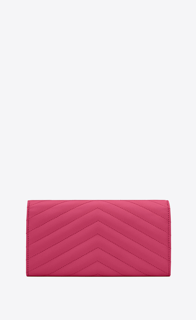 SAINT LAURENT Monogram Matelassé D large monogram flap wallet in lipstick fuchsia grain de poudre textured matelassé leather b_V4