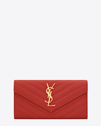 SAINT LAURENT Monogram Matelassé D large monogram flap wallet in lipstick red grain de poudre textured matelassé leather f