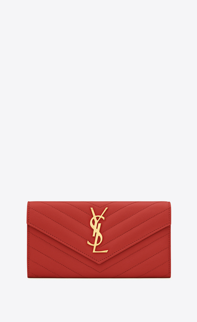 SAINT LAURENT Monogram Matelassé D large monogram flap wallet in lipstick red grain de poudre textured matelassé leather a_V4