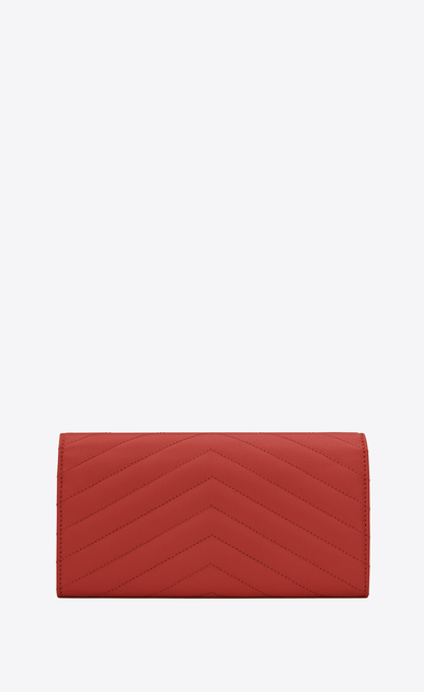 SAINT LAURENT Monogram Matelassé D large monogram flap wallet in lipstick red grain de poudre textured matelassé leather b_V4