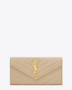 SAINT LAURENT Monogram Matelassé D Large Monogram Saint Laurent Flap Wallet in Powder Grain de Poudre Textured matelassé Leather f
