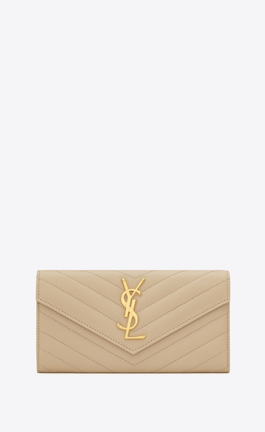 SAINT LAURENT Monogram Matelassé Woman large monogram flap wallet in powder grain de poudre textured matelassé leather a_V4