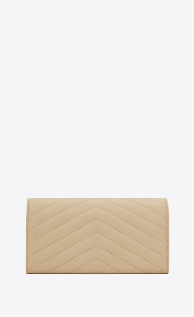 SAINT LAURENT Monogram Matelassé D large monogram flap wallet in powder grain de poudre textured matelassé leather b_V4