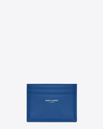 CLASSIC SAINT LAURENT PARIS CREDIT CARD CASE IN Royal Blue LEATHER