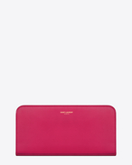 SAINT LAURENT Saint Laurent Paris SLG D Classic SAINT LAURENT PARIS Zip Around Wallet in Lipstick fuchsia Leather f