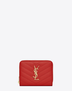 SAINT LAURENT Monogram Matelassé D monogram compact zip around wallet in red grain de poudre textured matelassé leather f