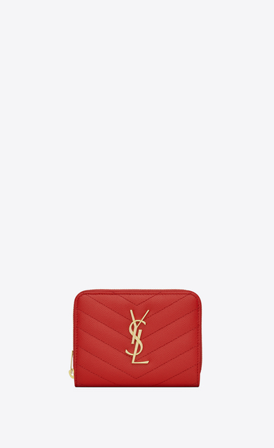 SAINT LAURENT Monogram Matelassé D monogram compact zip around wallet in red grain de poudre textured matelassé leather a_V4