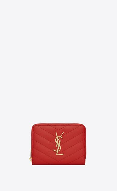 SAINT LAURENT Monogram Matelassé D monogram compact zip around wallet in red grain de poudre textured matelassé leather v4
