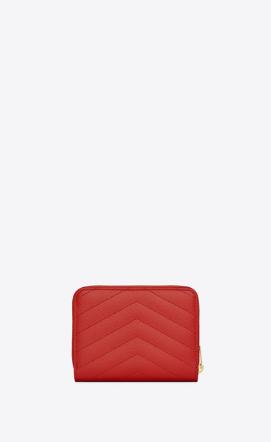 SAINT LAURENT Monogram Matelassé D monogram compact zip around wallet in red grain de poudre textured matelassé leather b_V4