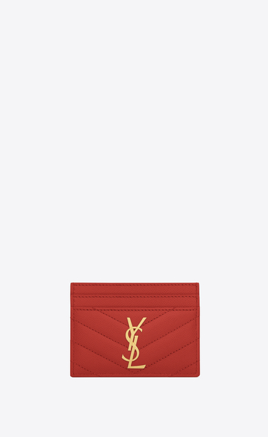 SAINT LAURENT Monogram Matelassé Woman monogram credit card case in lipstick red grain de poudre textured matelassé leather a_V4