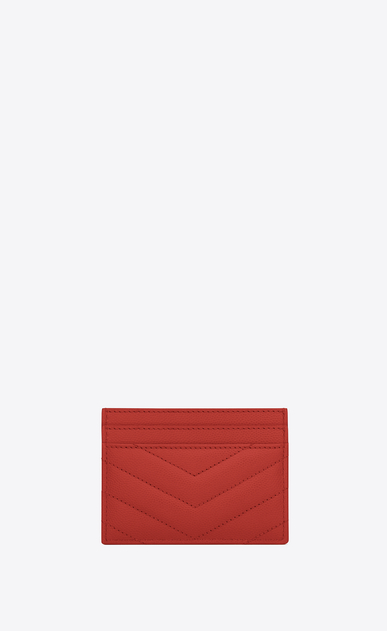 SAINT LAURENT Monogram Matelassé Woman monogram credit card case in lipstick red grain de poudre textured matelassé leather b_V4