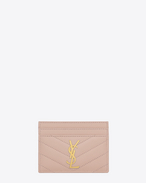 monogram saint laurent credit card case in pale pink grain de poudre textured matelassé leather