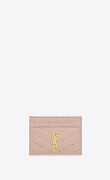 SAINT LAURENT Monogram Matelassé D monogram credit card case in pale pink grain de poudre textured matelassé leather a_V4