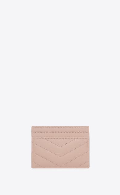 SAINT LAURENT Monogram Matelassé D monogram credit card case in pale pink grain de poudre textured matelassé leather b_V4