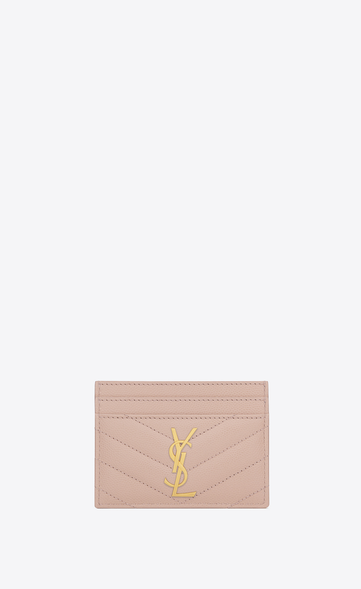 Saint Laurent Monogram Credit Card Case In Pale Pink Grain De Poudre