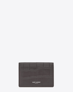 SAINT LAURENT Saint Laurent Paris SLG U classic saint laurent paris business card case in dark anthracite crocodile embossed leather f