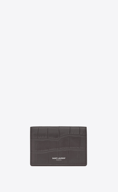 SAINT LAURENT Saint Laurent Paris SLG U classic saint laurent paris business card case in dark anthracite crocodile embossed leather a_V4