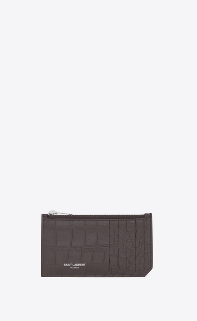 SAINT LAURENT Saint Laurent Paris SLG U classic saint laurent paris 5 fragments zip pouch in dark anthracite crocodile embossed leather a_V4